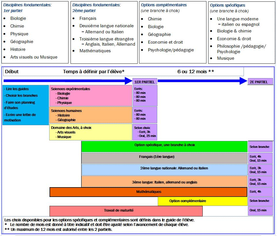 Disciplines et structure de la maturité suisse